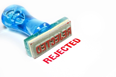 not confirm: rejected letter on blue rubber stamp isolated on white background
