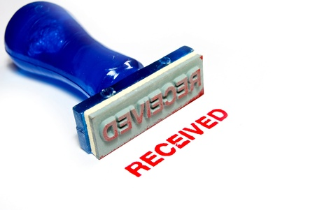 received: received letter on blue rubber stamp isolated on white background
