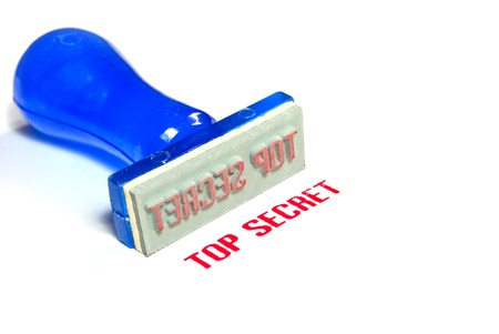 top secret letter on blue rubber stamp isolated on white background Stock Photo - 8797326