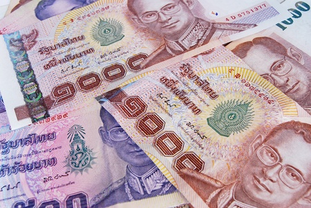 baht: thai money banknotes closeup background Stock Photo
