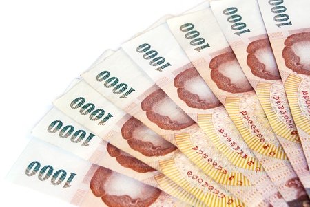 thai money banknotes  isolated on white background photo