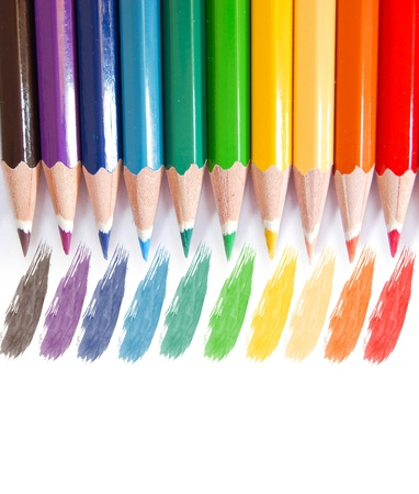 variety of color pencils isolated on white background Stock Photo - 8993126