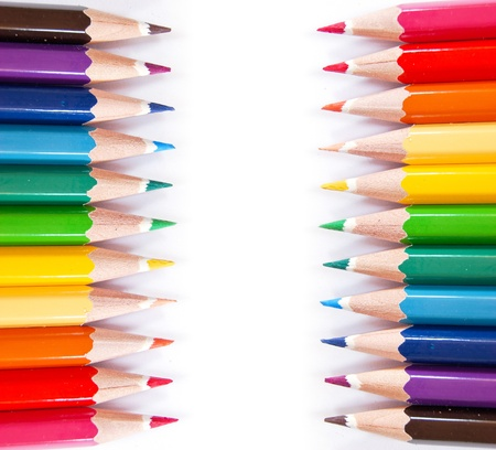 variety of color pencils isolated on white background photo