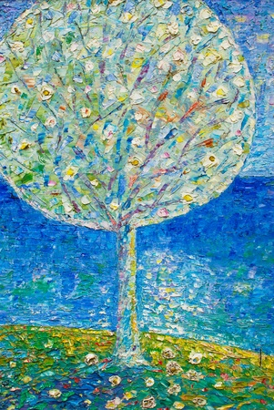 oil paintings: abstract oil painting on canvas , blue natural tree concept Stock Photo