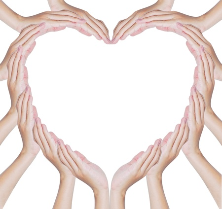 amour: Hands make heart shape isolated on white background Stock Photo