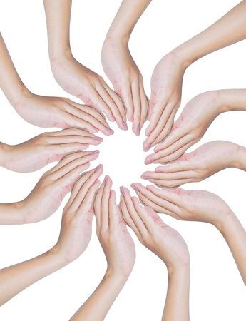 Hands forming a circle shape on white background , teamwork and protection conceptual photo