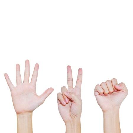 Rock , Scissors , Paper , Hand posing in various position