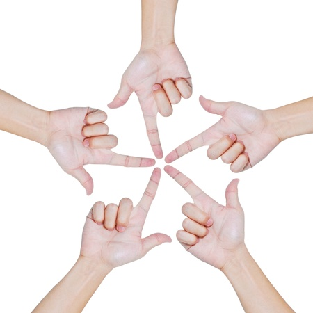 Hands of teamwork , conceptual style , focus to the one point