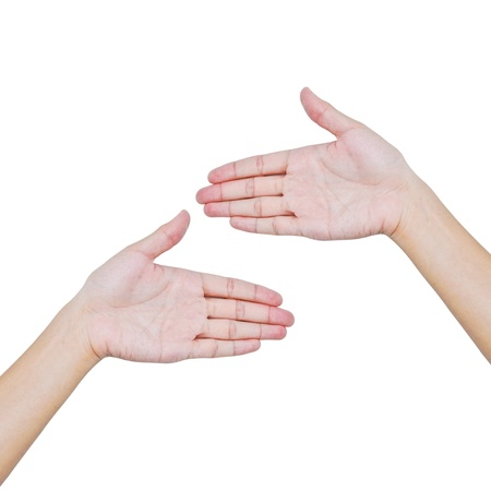 Hand trying to touch together , friendship and teamwork conceptual style Stock Photo - 9400484