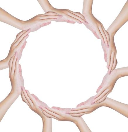 защита: Hands forming a circle shape on white background , teamwork and protection conceptual Фото со стока