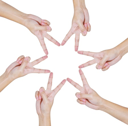 Hands of teamwork , conceptual style , forming the star shape photo