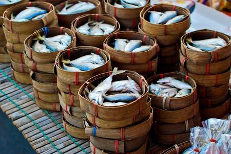 Fresh mackerel in basket in market photo