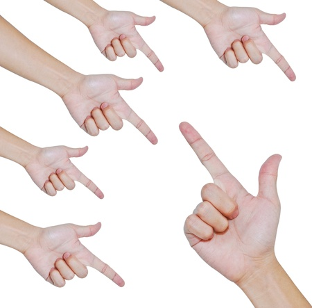 woman pointing: Hand pointing two directions isolated , Teamwork concept