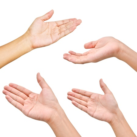 hand up: Variety of hands in different poses on white background Stock Photo