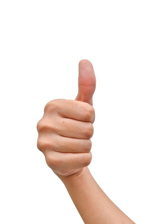 Hand with thumb up on white background Stock Photo - 9727560