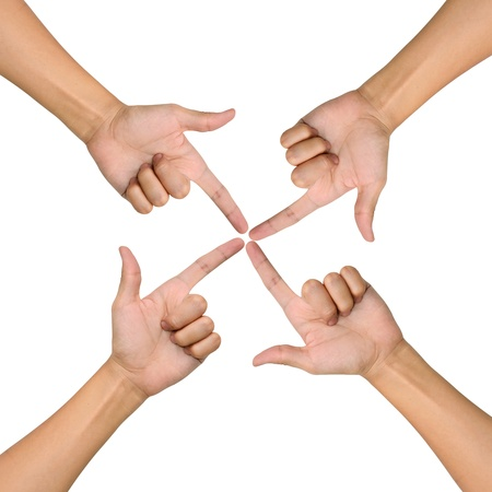 Hands of teamwork , conceptual style , focus to the one point Stock Photo - 9727588