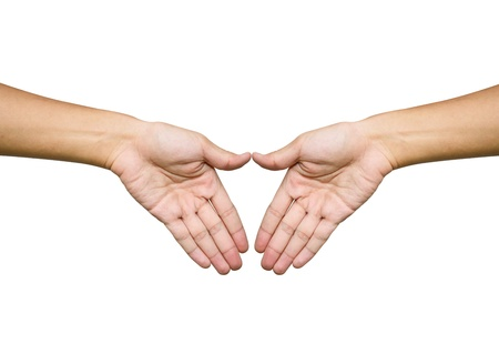 Hand trying to touch together , friendship and teamwork conceptual style Stock Photo - 9727584