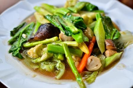 Stir fried variety of vegetables , Thai style food