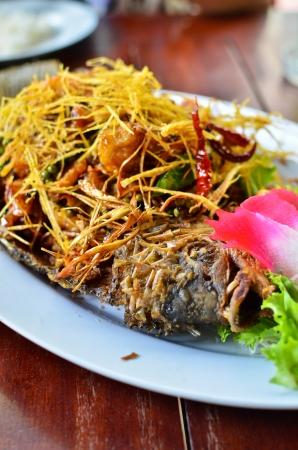 deep fry: deep fried fish with lemongrass , Thai style food