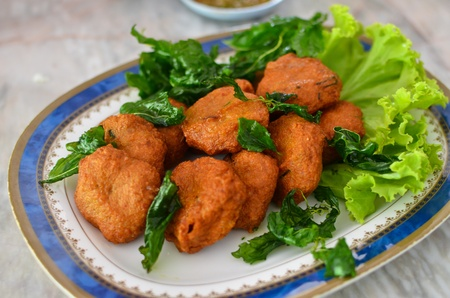 Spicy fried fish ball , Thai style food photo