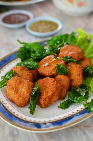 Spicy fried fish ball , Thai style food