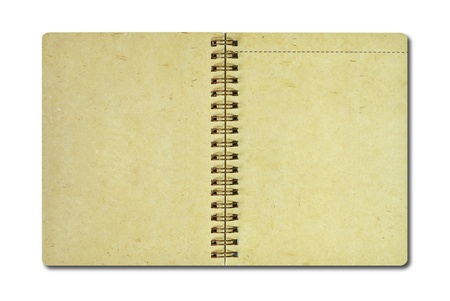 Brown recycle paper notebook isolated on white photo