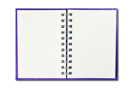 Blank purple cover notebook isolated on white background photo
