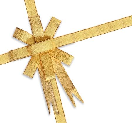 Satin Gold ribbon isolated on white background