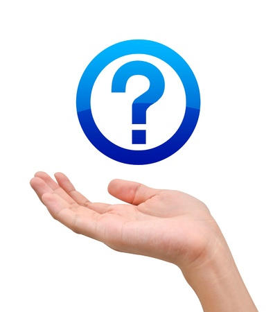 Hand with question symbol on white background