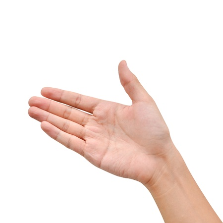 Hand raise for receive something on white background photo