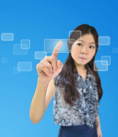 access point: Portrait of asian woman pressing on a flow of buttons Stock Photo