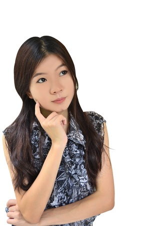 Asian woman thinking on white background photo