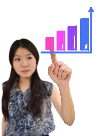 Portrait of asian woman drawing graph on white background photo