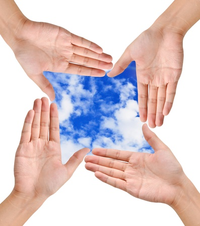 Hand forming frame shape around the blue sky background Stock Photo - 10228683