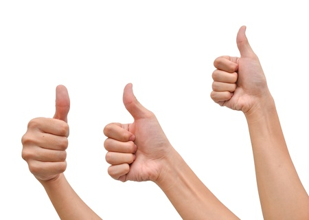 arms up: Hand with thumb up isolated on white background Stock Photo