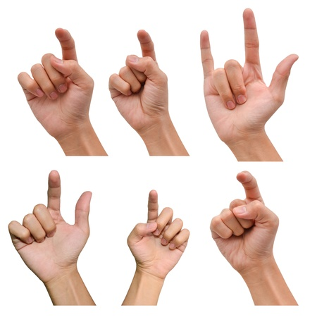 Variety of hands in different poses on white background Stock Photo - 10228698