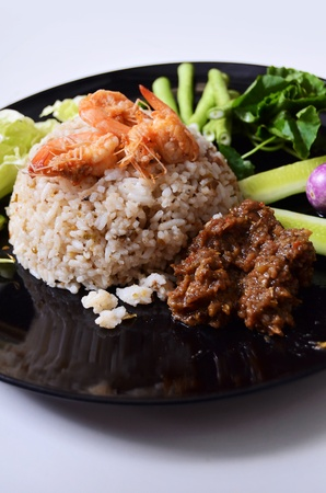 Spicy fried rice with shrimp , Thai style food photo