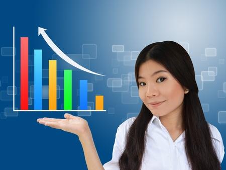 grafica de barras: Mujer de negocios y un gr�fico que muestra el crecimiento del negocio