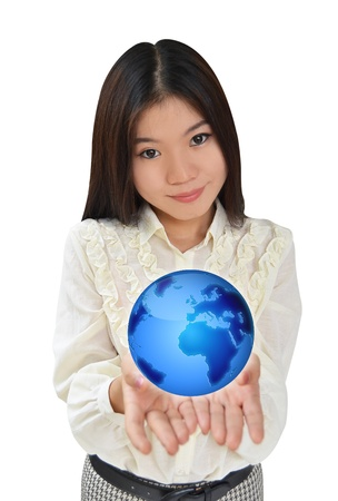 Business woman presenting the earth globe blue photo