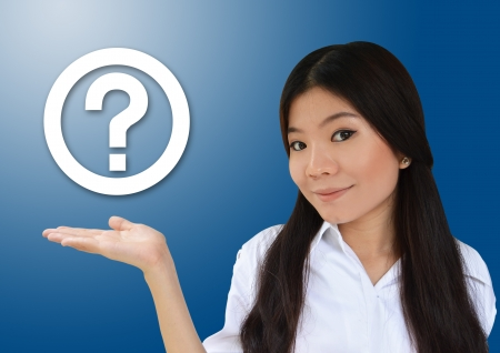 hand cart: Business woman showing question symbol Stock Photo