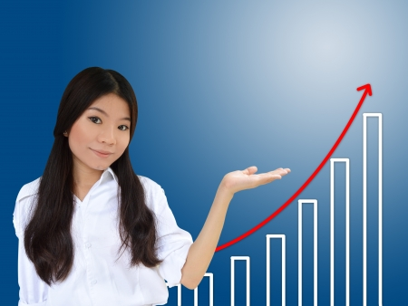 population growth: Business woman and a graph showing growth of business