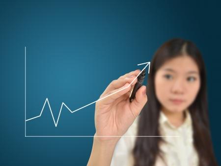 femme dessin: Femme d'affaires dessinant un graphique montrant la croissance de l'entreprise