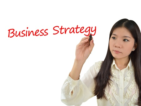 Business woman drawing a plan for business strategy photo