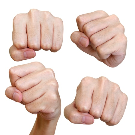 aggression: Various poses of punch fist isolated on white background Stock Photo