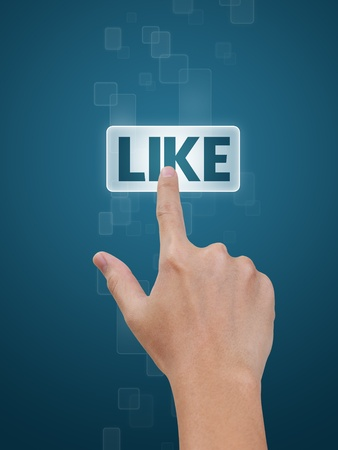 like button: Hand pressing Like button on a flow of buttons on blue background Stock Photo
