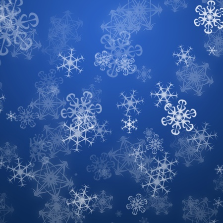 Christmas blue background with snow flakes photo