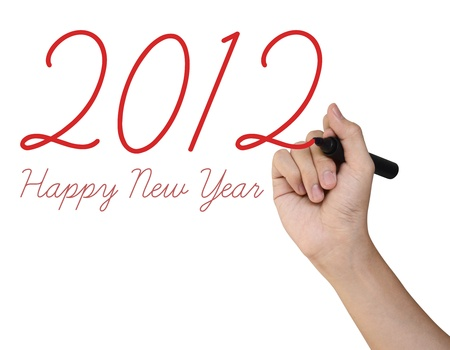 Hand writing 2012 Happy New Year on white background