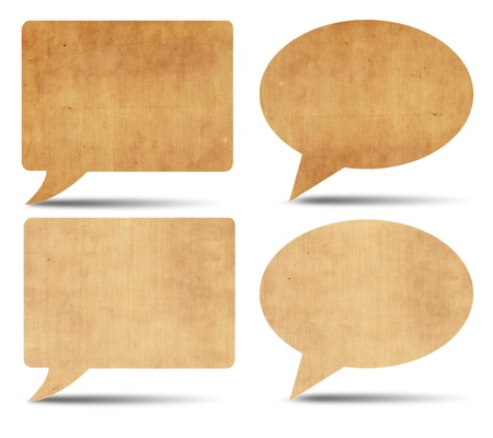 Vintage speech bubbles on white background photo