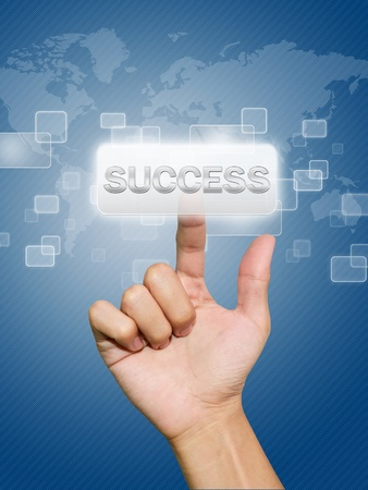 Hand pressing success button Stock Photo - 11270018