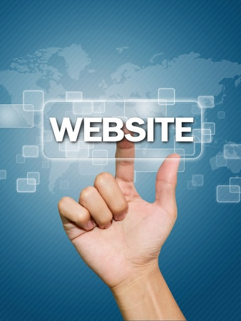 new technology: Hand pressing website button Stock Photo